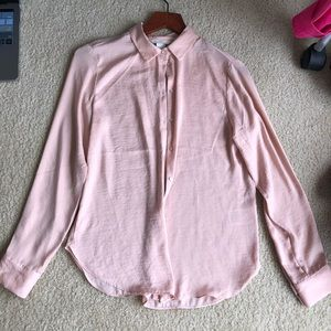 Peach pink pastel button up collared top blouse